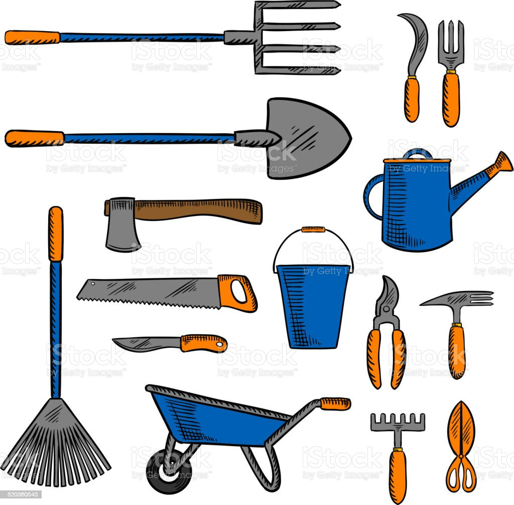 Colored Sketch Icon Of Gardening Hand Tools Royalty Free Colored Sketch  Icon Of Gardening Hand