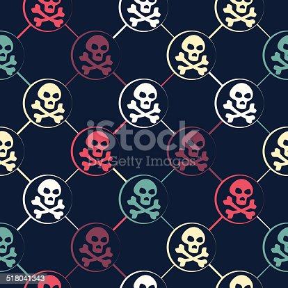 seamless texture with colored skulls on dark background background