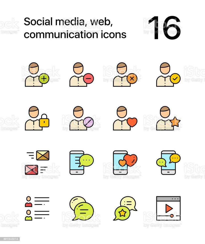 Ilustración De Colorea Los Medios De Comunicación Social Web