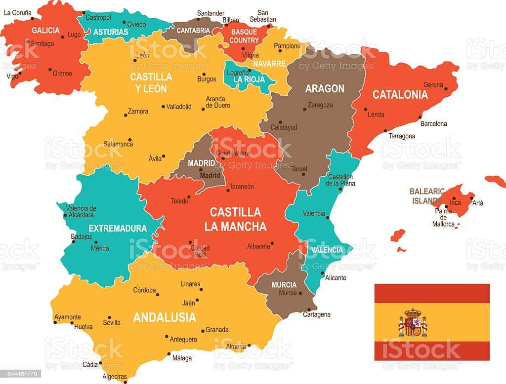Colored Spain Map vector art illustration