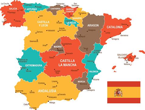 Cartina Della Spagna Geografica.Mappa Colorata Spagna Immagini Vettoriali Stock E Altre Immagini Di Aragona Istock