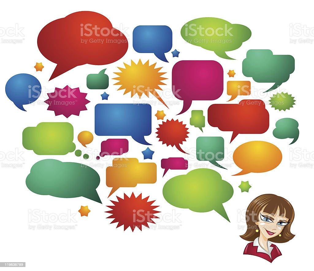 Colored Speech Bubbles and Girl Avatar royalty-free colored speech bubbles and girl avatar stock vector art & more images of adult