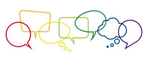 ilustraciones, imágenes clip art, dibujos animados e iconos de stock de burbujas de discurso color en una fila - faq