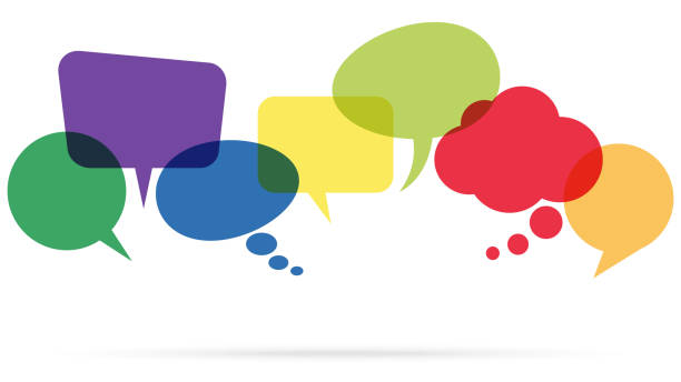 colored speech bubbles in a row illustration of colored speech bubbles in a row with space for text annotation stock illustrations