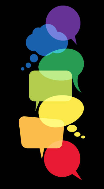 colored speech bubbles in a row illustration of colored speech bubbles in a row with space for text on black background annotation stock illustrations