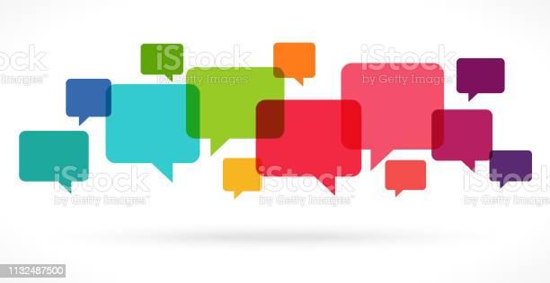 Colored Speech Bubbles - Stockowe grafiki wektorowe i więcej obrazów Bańka