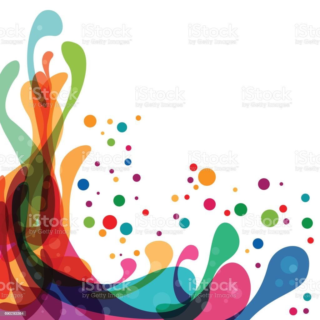 Colored splashes in abstract shape vector art illustration