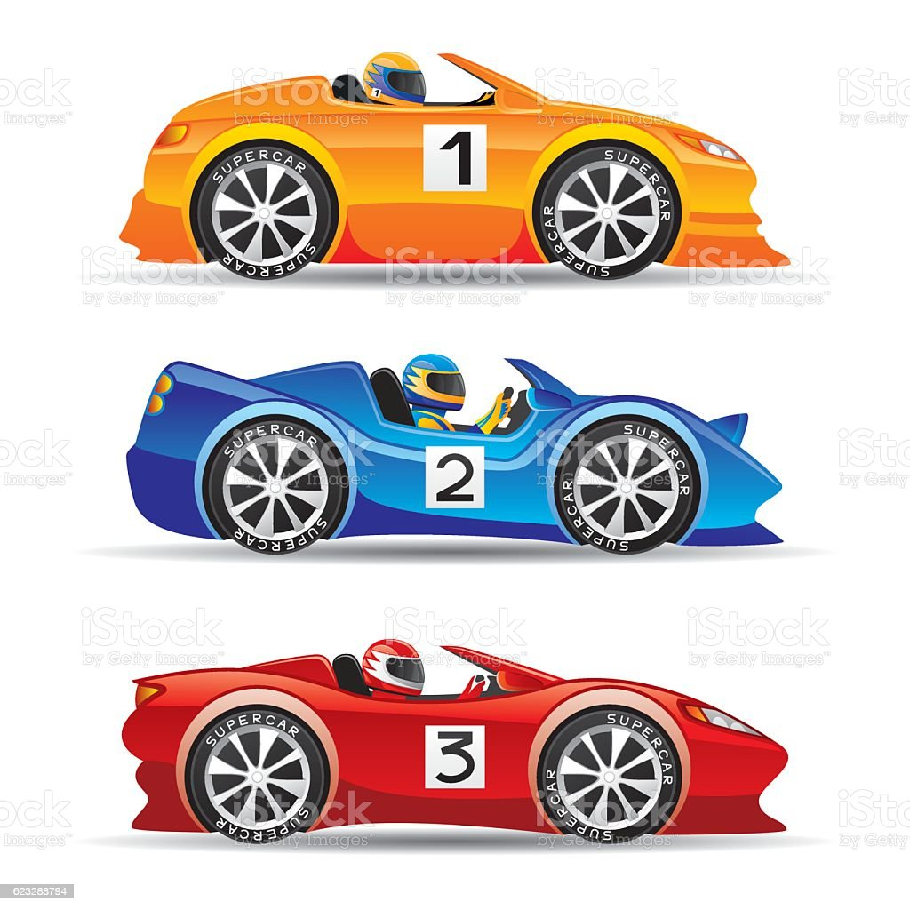 Colored Sports Cars. Royalty Free Colored Sports Cars Stock Vector Art  U0026amp; More