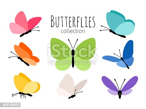 Colored spring butterflies. Abstract drawing color flying butterfly set for kids vector illustration isolated on white background