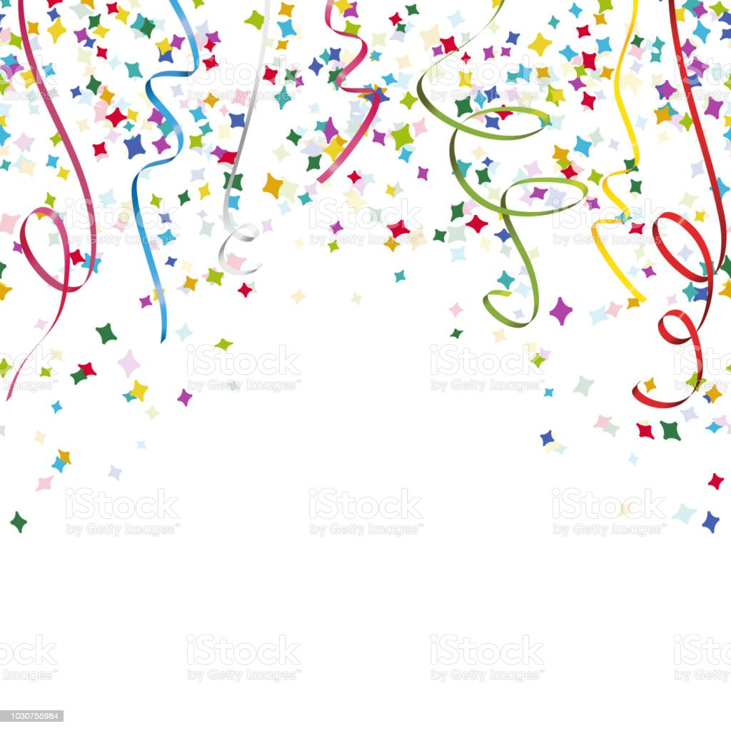 Colored Streamers And Confetti Background Stock ...
