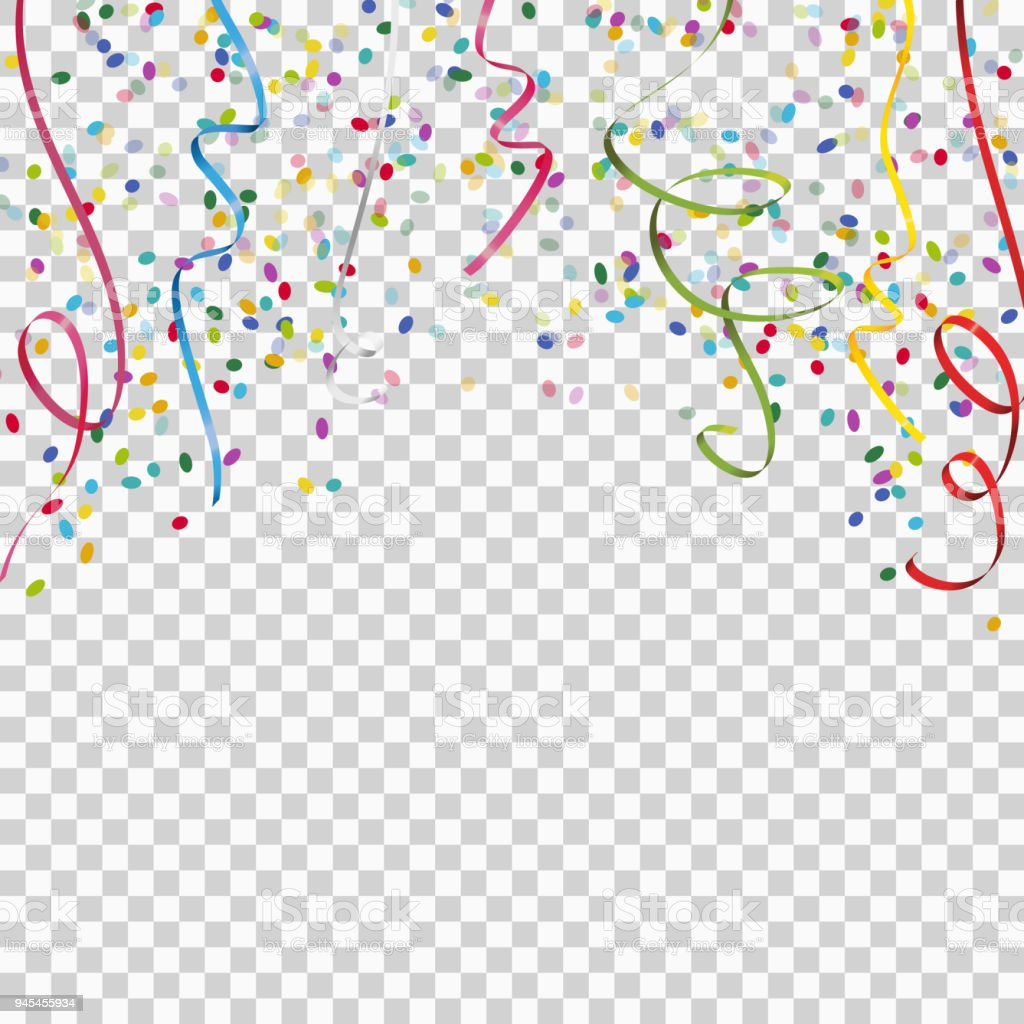 colored streamers and confetti background with vector transparency vector art illustration