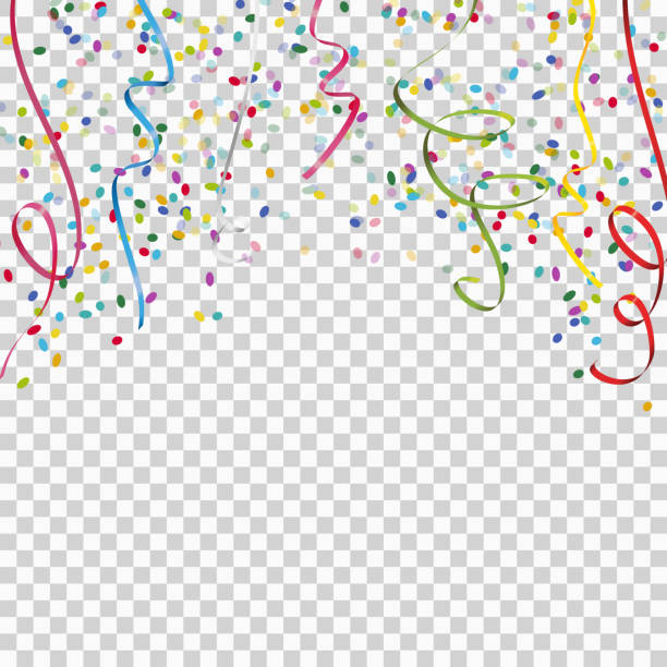 colored streamers and confetti background with vector transparency colored streamers and confetti background for party or festival usage with transparency in vector file invitational stock illustrations