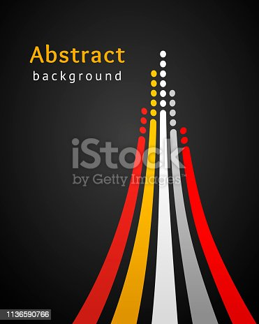 Colored stripes with circles over black background. Retro vector backdrop. Design template. Bright lines directed upwards. Abstract illustration. Concept of leadership, competition, success and etc
