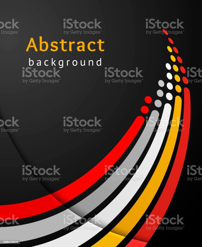 Colored stripes with circles over black background. Retro vector backdrop. Design template. Abstract lines directed upwards. vector art illustration