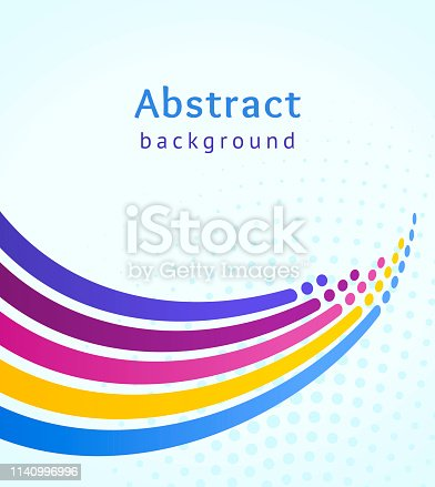 Colored stripes with circles over blue background. Retro vector backdrop. Design template. Stylized marine wave and splash. Abstract lines directed upwards. Trendy color scheme
