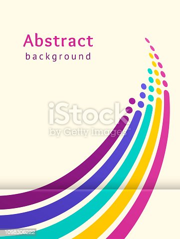 Colored stripes with circles over light background. Retro vector backdrop. Design template. Abstract lines directed upwards. Trendy color scheme
