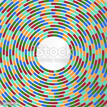 istock Colored strips in circles, copy space 1266296788