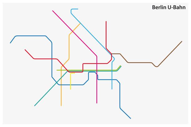 colored subway map of Berlin, germany colored subway vector map of Berlin, germany underground stock illustrations