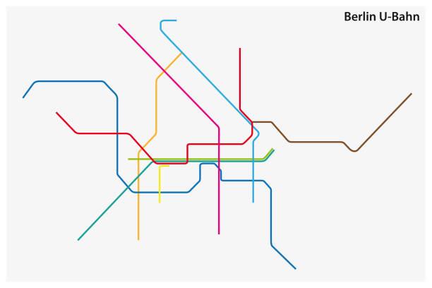 bildbanksillustrationer, clip art samt tecknat material och ikoner med färgade tunnelbana karta över berlin, tyskland - berlin city