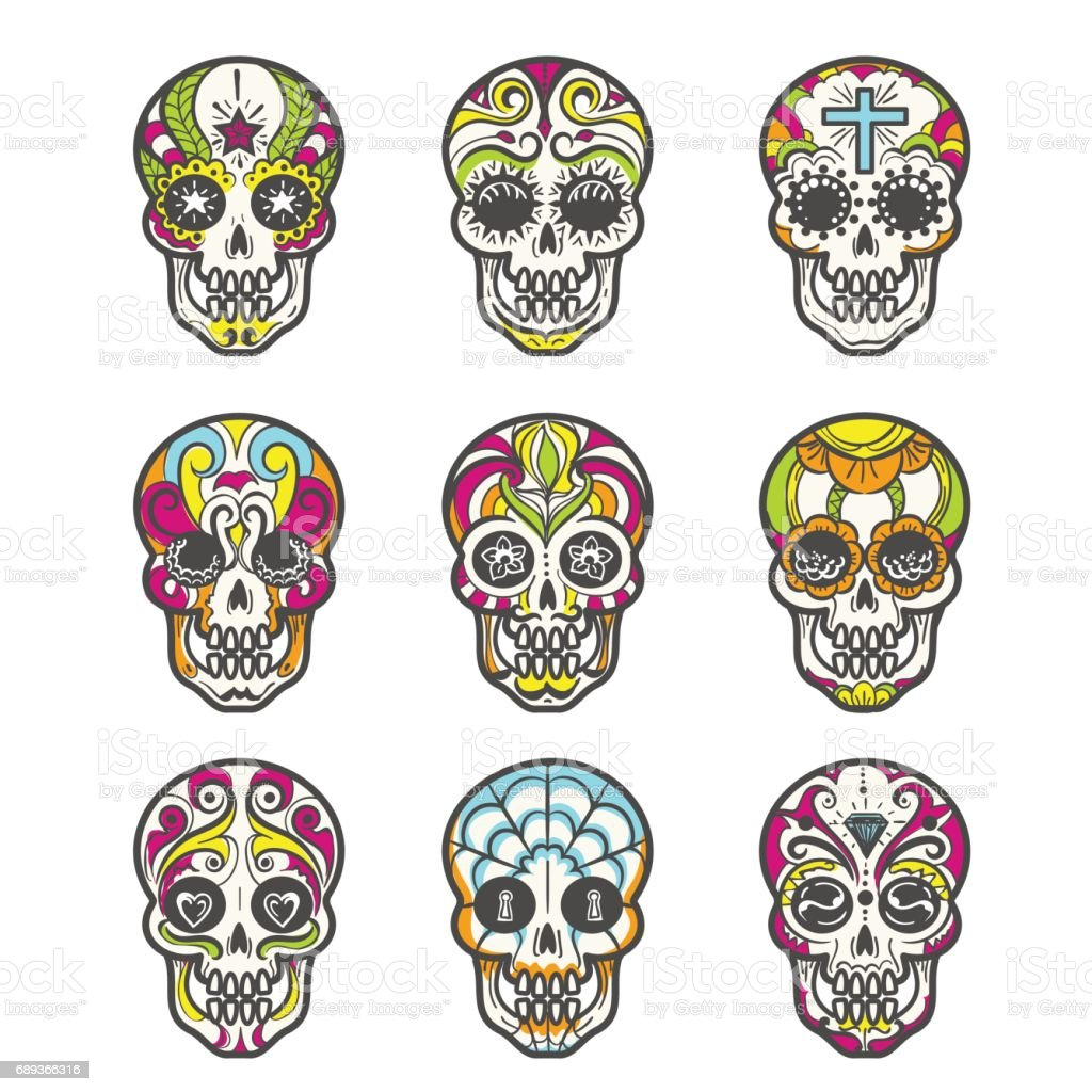 - Colored Sugar Skull Icons Set Stock Illustration - Download Image