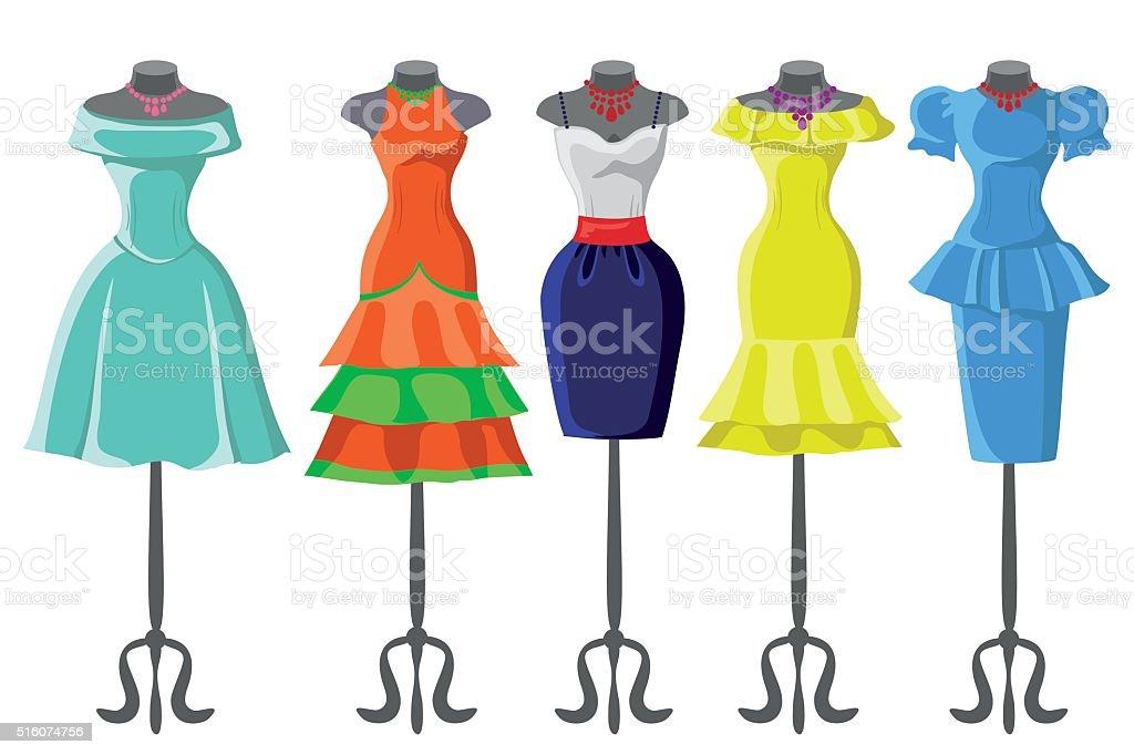 9075c005407a Colorati impostare di abiti estivi per manichino. Moda colorati impostare  di abiti estivi per manichino