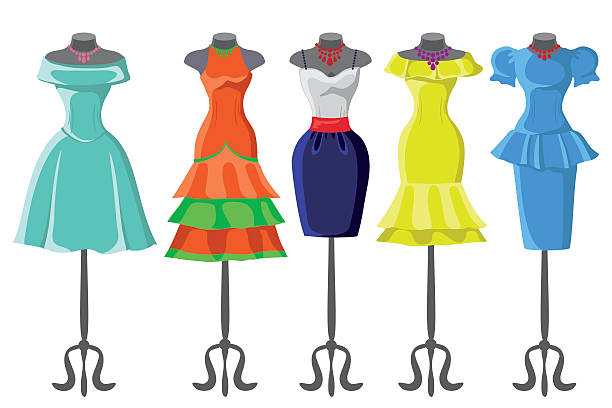 colored summer dresses on mannequin.fashion set - summer fashion stock illustrations, clip art, cartoons, & icons