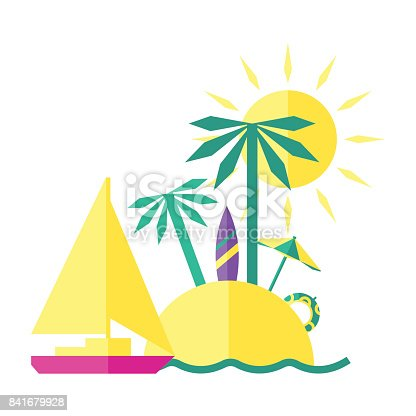 Colored Summer Illustration Of An Island With Two Cute Palms On It