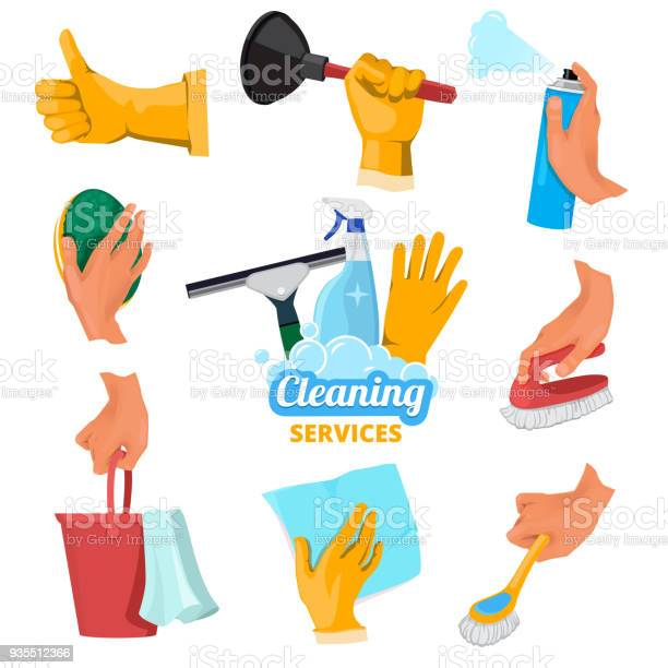 Colored symbols for cleaning service hands holding different tools vector id935512366?b=1&k=6&m=935512366&s=612x612&h=l0gd0sk68ckzrci 0nz98v9rfapqaqfk0rfhzfrxkvi=