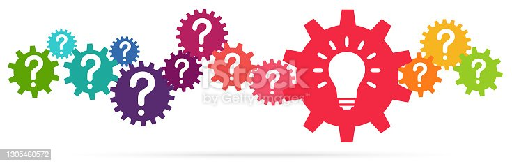 eps vector illustration of colored gears symbolizing cooperation or teamwork process with question marks and glowing light bulb for great solution idea
