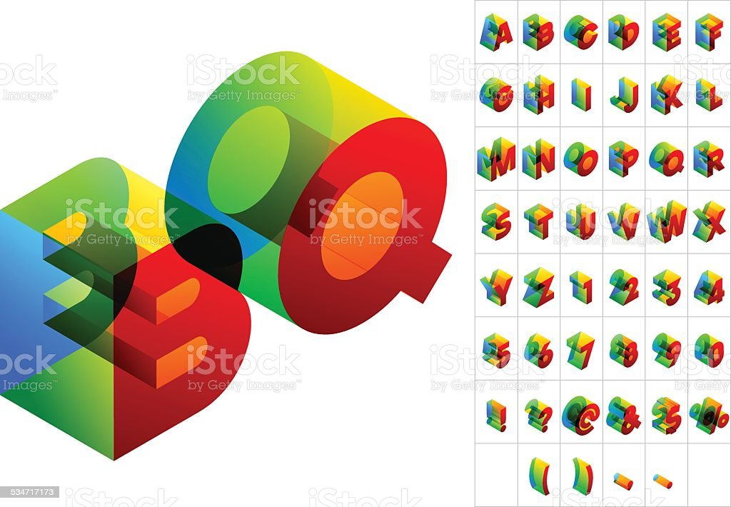 Colored text in isometric view vector art illustration
