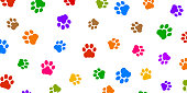 Colored trace of dog paw pattern with paw footprints, dog trace background isolated illustration cartoon repeat wallpaper - stock vector