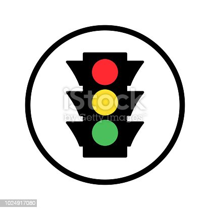 Colored traffic light round icon. Vector illustration