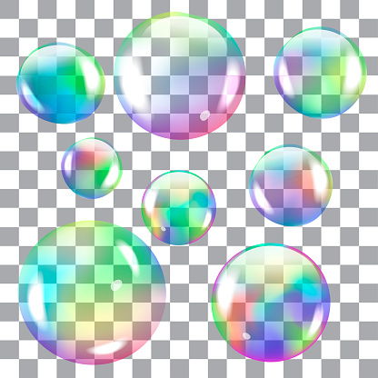 Colored, transparent, soap bubbles. Vector objects for design.