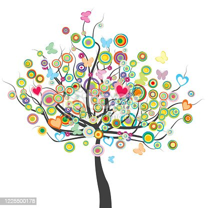 Colored tree with flowers, butterflies and circle shape leaves