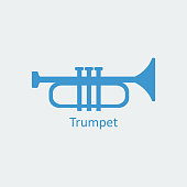 Colored Trumpet icon. Musical symbol. Silhouette vector icon