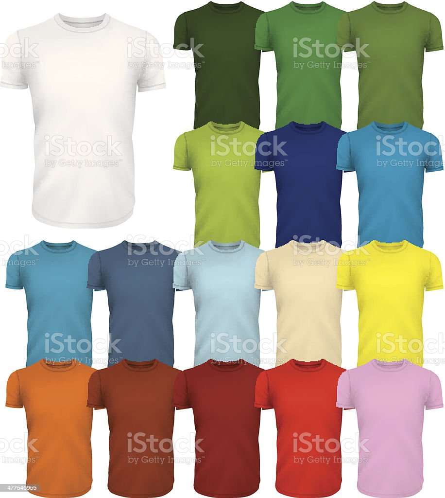 Colored Tshirt Templates vector art illustration