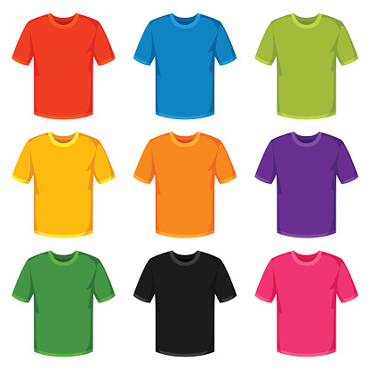 Colored t-shirts templates. Set of promotional and advertising clothes