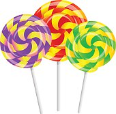 Colored twisted lollipops