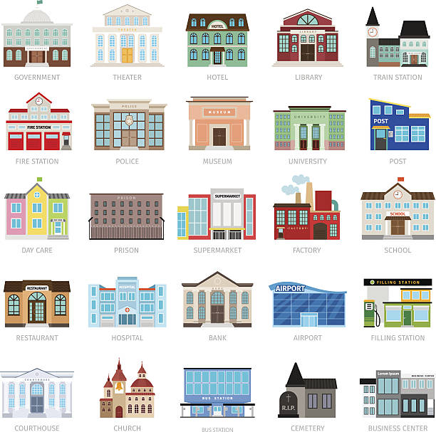 Colored urban government building icons vector art illustration