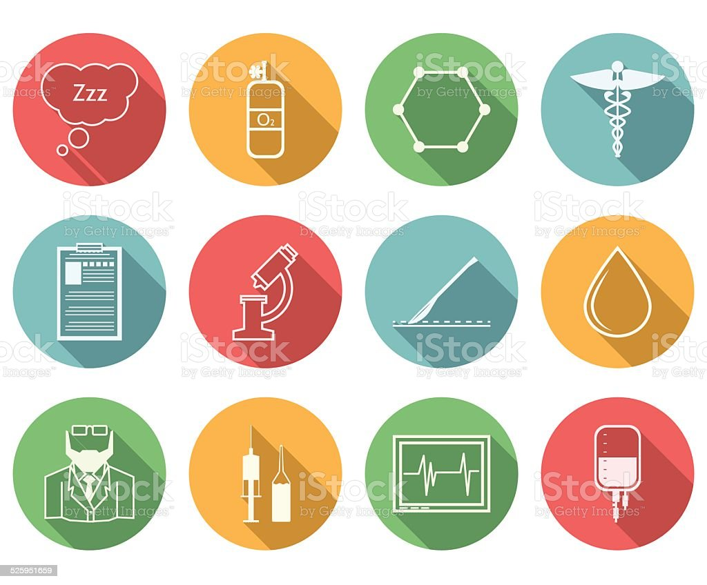 Colored vector icons for anesthesiology vector art illustration