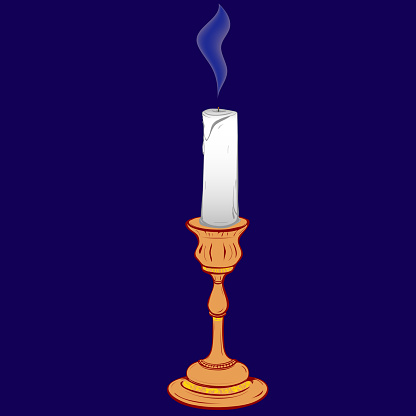Colored vector illustration of stylized retro candle