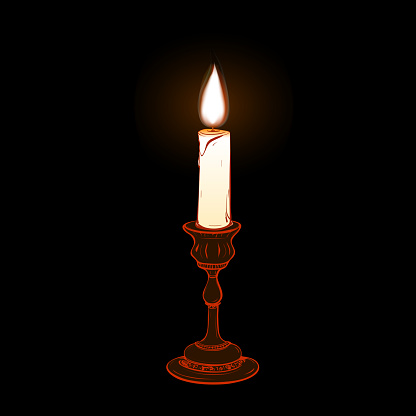 Colored vector illustration of stylized retro candlestick with a steaming candle