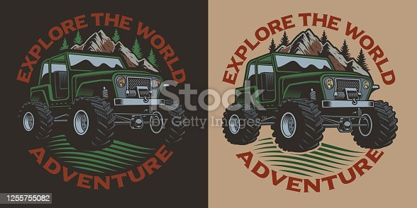 istock Colored vector illustration with an SUV. 1255755082