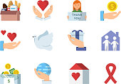 Colored vector symbols of charities
