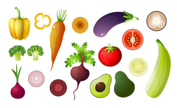 Colored vegetables set isolated on white background Colored vegetables set isolated on white background. Assortment veggies for cooking from garden. Autumn harvest, agricultural, farm concept. Flat design cartoon for learning, teaching crucifers stock illustrations