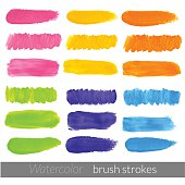 Colored watercolor brush strokes set.