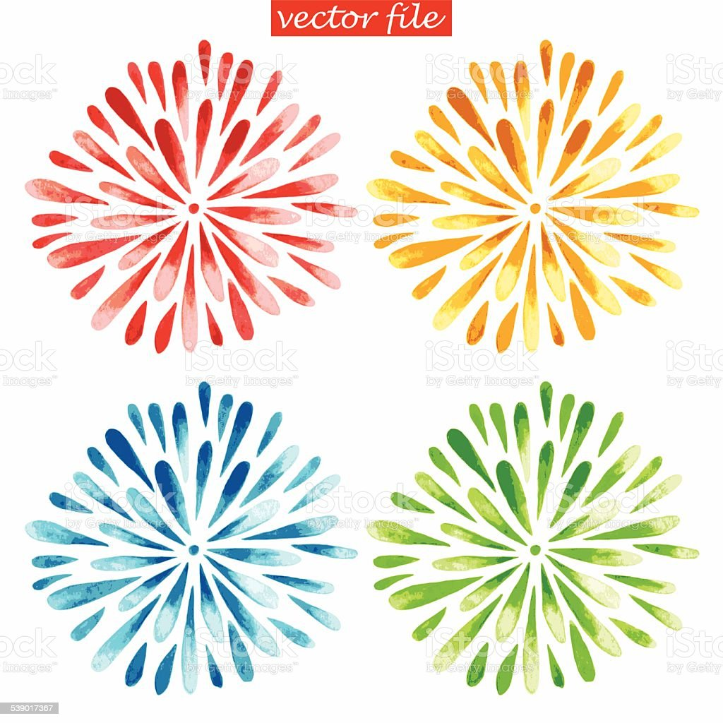 Colored Watercolor Sunburst Flowers vector art illustration