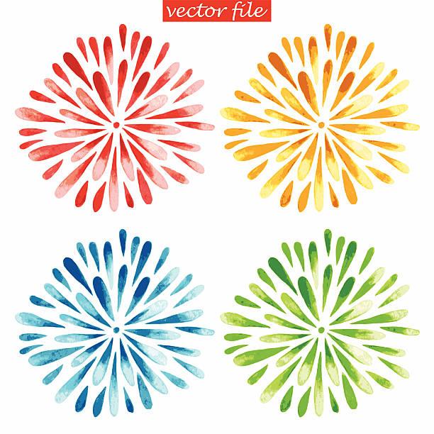 Colored Watercolor Sunburst Flowers Green, Blue, Yellow and Red Watercolor Vector Sunburst Flower flower head stock illustrations