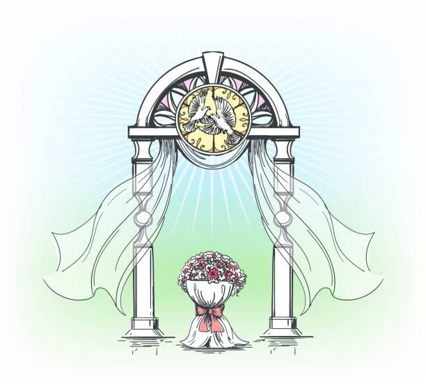 farbige hochzeit bogen mit rosenblüten - perlenstrauß stock-grafiken, -clipart, -cartoons und -symbole