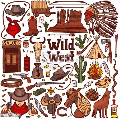 Colored Wild West Set. Collection in Hand Drawn Style for Surface Design Fliers Banners Prints Posters Cards. Vector Illustration